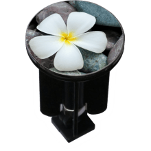 Decorated Sink Plug Design 'Flower on Pebbles'