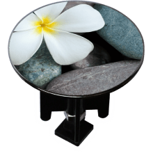 Decorated Extra-Large Sink Plug Design 'Flower on Pebbles'